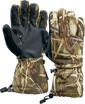 Hunting Waterproof, breath able Omni-Tech shell with warmth-trapping Omni-Heat thermal insulation and reflective liner. Grip-enhancing poly ure thane-coated palms. Thumb nose wipes. Elas tic wrists. Adjust able cuffs. Impor ted. Sizes: S-XL.Camo pattern: Realtree MAX-4 . - $29.88