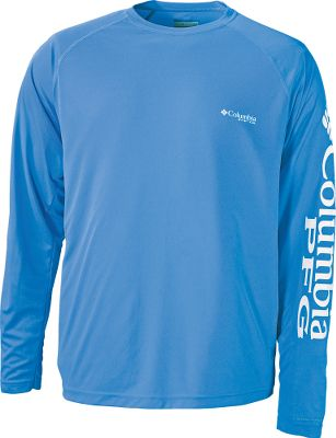 The lightweight, 100% polyester Columbia Mens PFG Terminal Tackle Long-Sleeve Tee Shirt boasts Omni-Wick advanced moisture-wicking technology for fast-drying, warm-weather comfort. Omni-Shade UPF rating of 50 protects you from harmful UV rays. Double-needle stitching at the neck, sleeves and hem for long-wearing durability. Screen-printed details at chest. Screen-printed Columbia logo on the left sleeve. Imported. Sizes: M-2XL. Colors:Sunset Red, Marine Blue, Key West,Bright Peach, Sunlit/PFG Logo,Black/Cool Grey Logo, White Cap/White Logo, Charcoal Grey Heather, Key West/VB Logo, White/Nightshade Logo, Windswept/Dark Lime, Tippet/Moxie (not shown). Size: 2 X-Large. Color: Windswept/Dark Lime. Gender: Male. Age Group: Adult. Material: Polyester. Type: Long-Sleeve Tee Shirts. - $35.00