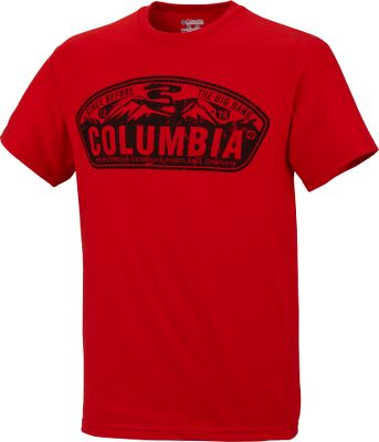 An ultralight 100% jersey cotton, short-sleeve tee to keep you cool during warm weather. Large Columbia landscape screen-printed graphic across the chest. UPF rating of 15. Imported.Sizes: S-2XL.Color: Sail Red. - $12.88