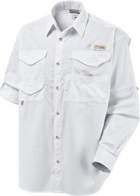 Fishing Columbias comfortable Mens PFG Bonehead Long-Sleeve Shirt is loaded with extras. Four large hook-and-loop-close pockets, tippet-dispenser pocket, rod-holder loop and three compartments for other accessories. Made of 100% cotton poplin with a cape-covered, polyester-mesh back for ventilation. Hook-and-loop collar tips keep collar in place. Imported. Sizes: S-5XL. Colors: Sage, Fossil, White, Sunlit, White Cap, Bright Peach, Collegiate Navy, Dark Mirage, Key West, Blue Heron, Vivid Blue, Black, Commando, Sunset Red, Pond. Size: Large. Color: Collegiate Navy. Gender: Male. Age Group: Adult. Material: Cotton. Type: Long-Sleeve Shirts. - $44.00