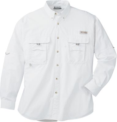Flyfishing Take on the flats or any warm-weather fishing destination in the airy, lightweight comfort of Columbias Mens PFG Bahama II Long-Sleeve Shirt. Fully ventilated and crafted with 100% nylon Backcountry Cloth II that keeps you cool, dries quickly and has an Omni-Shade UPF rating of 30. Two fly-box pockets on the chest have hook-and-loop closures for secure storage. Built-in rod holder keeps your hands free for tying leaders. Also has a utility loop, tool holder and Swiss tabs to keep sleeves rolled up and secure. Imported. Sizes: M-5XL. Colors:Black, Bright Peach,Collegiate Navy, Fossil,Gulf Stream, Key West, Pond, Sail,Sunlit, Sunset Red, White. Size: 2 X-Large. Color: Pond. Gender: Male. Age Group: Adult. Material: Nylon. Type: Long-Sleeve Shirts. - $48.00