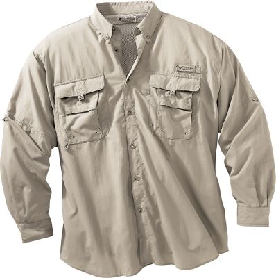 Flyfishing Take on the flats or any warm-weather fishing destination in the airy, lightweight comfort of Columbias Mens Bahama II Long-Sleeve Shirt. Fully ventilated and crafted with 100% nylon Backcountry Cloth II that keeps you cool, dries quickly and has an Omni-Shade UPF rating of 30. The two fly-box pockets on the chest have hook-and-loop closures for secure storage. Built-in rod holder keeps your hands free. This shirt also has a utility loop and tool holder, and the long sleeves have Swiss tabs to keep sleeves rolled up and secure. Imported. Tall sizes: L-4XL. Colors:Sage, Sail, Fossil, White, Fossil/Realtree AP, Vivid Blue, White/Realtree AP, Bright Peach. Size: 2XL. Color: Bright Peach. Gender: Male. Age Group: Adult. Material: Nylon. - $53.00