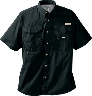 The comfortable Columbia Mens PFG Bonehead Short-Sleeve Shirt is loaded with extras. Four large hook-and-loop-close pockets, a tippet-dispenser pocket, rod-holder loop and three compartments for other accessories. Made of 100% cotton poplin with a cape-covered, polyester-mesh back for ventilation. Hook-and-loop collar tips keeps collar in place. Imported. Sizes: S-5XL. Colors: White Cap, White, Gulfstream, Collegiate Navy, Black, Bright Peach, Riptide, Blue Heron, Sunlit, Commando. Size: Medium. Color: White. Gender: Male. Age Group: Adult. Material: Cotton. Type: Short-Sleeve Shirts. - $35.00