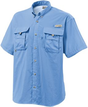 Flyfishing Take on the flats or any warm-weather fishing destination in the airy, lightweight comfort of Columbias Mens PFG Bahama II Short-Sleeve Shirt. Its fully ventilated and crafted of 100% nylon Backcountry Cloth II that keeps you cool, dries quickly and has an Omni-Shade UPF rating of 30. The two fly-box pockets on the chest have hook-and-loop closures for secure storage. Built-in rod holder keeps your hands free for tying leaders. Utility loop and tool holder. Imported. Sizes: M-5XL. Colors: Sail, Gulf Stream, Fossil, Sunlit, Vivid Blue, Sage, Collegiate Navy, White. Size: X-Large. Color: Gulfstream. Gender: Male. Age Group: Adult. Material: Nylon. Type: Short-Sleeve Shirts. - $40.00