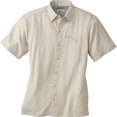 Rugged, trail-ready comfort meets classic button-down style in Columbias Declination Trail Short-Sleeve Shirt. Soft, shrink-resistant 75/25 modal/polyester blend. Left chest pocket with button flap. Imported. Sizes: M-2XL. Colors: Twill, Green Tea, Blue Sky, Spark Orange, Bluetime Check, Clean Green Check, Valencia Check. Size: X-Large. Color: Valencia Check. Gender: Male. Age Group: Adult. Pattern: Check. Material: Polyester. Type: Short-Sleeve Shirts. - $22.88