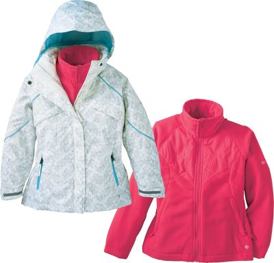 Columbias classic snow parka updated with new features and downsized for her. Zip-In Interchange System pairs a 100% waterproof, breathable Omni-Tech shell with a removable fleece liner for versatile, three-season warmth and protection. Shell features sealed critical seams, removable storm hood and several pockets, including an interior security pocket and exterior goggle pocket. Imported.Sizes: 4/5, 6/6X, 7/8, 10/12, 14/16, 18/20.Colors: Afterglow, Light Grape, Sea Salt Print, Clear Blue Print. - $54.88