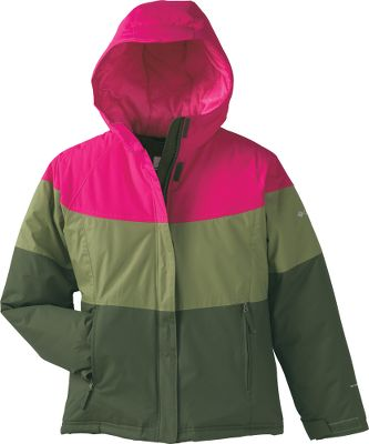 Ski The snow-ready shell is made of 100% nylon Hydra Cloth 3K and equipped with water- and stain-resistant Omni-Shield. Behind the smooth nylon lining, a 240-gram layer of polyester insulation surrounds and blankets for superior warmth. Attached, adjustable storm hood. Inner security pocket. Imported.Sizes: 7/8, 10/12, 14/16, 18/20.Colors: Light Grape Star, Afterglow Star Print, Black Star Print, Afterglow Plaid, Eclipse Blue Print. - $39.88