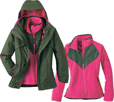Columbia's classic snow parka updated with new features and downsized for her. Zip-In Interchange System pairs a 100% waterproof, breathable Omni-Tech shell with a removable fleece liner for versatile, three-season warmth and protection. Shell features sealed critical seams, removable storm hood and several pockets, including an interior security pocket and exterior goggle pocket. Imported.Sizes: 4/5, 6/6X.Colors: Black Geo Print, Surplus Green, Raspberry, Eclipse Blue. - $59.88