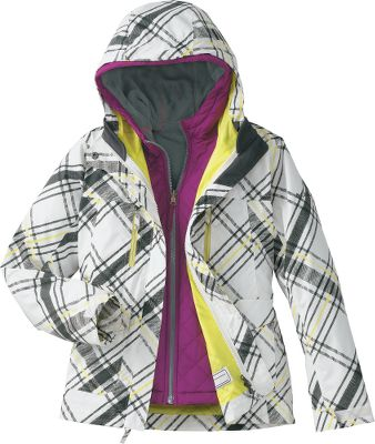 One stylish coat for any number of conditions, from cool fall nights to snowy winter days. Zip-in Interchange System features waterproof 100% nylon Hydra Cloth shell and reversible polyester fleece liner jacket for four-in-one performance. Omni-Shield technology repels water and stains. Shell features an attached, adjustable storm hood. Machine washable. Imported.Sizes: 4/5, 6/6X.Colors: Sea Salt, Heliotrope, Very Pink. - $49.88