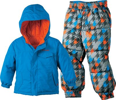 Guns and Military Little ones need a lot of warmth and this winter jacket and pants set delivers with fluffy, warm faux goose-down insulation. Eco-friendly shell is crafted from 100% recycled polyester and features water- and stain-shedding Omni-Shield technology. Polyester liner slides on easily over other clothes to reduce the hassle of getting kids dressed for the day. Attached, adjustable storm hood for full-coverage protection during particularly nasty weather. Elastic waist and cuffs. Reversible. Imported.Sizes: 2T, 3T, 4T.Colors: Grill, Columbia Navy, Compass Blue. - $59.88