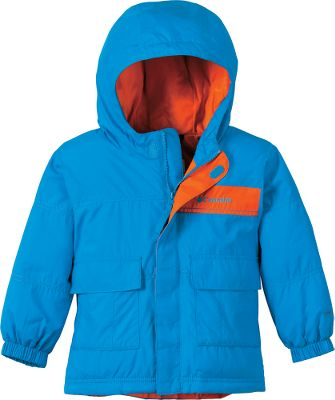 "Squishy soft toddler's jacket is stuffed with 100% polyester faux down for huggable warmth. Polyester Storm Lite DP shell features Omni-Shield to ward off rain, snow and stains. Attached, adjustable storm hood. ""Mom"" pocket on back holds everyday essentials for added convenience. Imported.Sizes: 2T, 3T, 4T.Colors: Compass Blue, Hot Rod, Leapfrog. - $29.88"