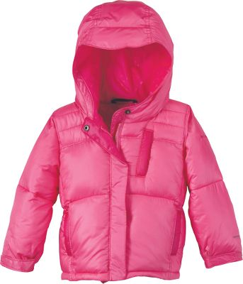 "Squishy soft jacket is stuffed with 100% polyester faux down for huggable warmth. Polyester Luster DP shell features Omni-Shield to ward off rain, snow and stains. Attached, adjustable storm hood. ""Mom"" pocket on back holds everyday essentials for added convenience. Imported.Sizes: 6 mo., 12 mo., 18 mo., 24 mo.Colors: Heliotrope Print, Pink Taffy, Aqua Haze Print. - $29.88"