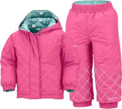 Little ones need a lot of warmth and this winter parka and pants set delivers with fluffy, warm faux-goose-down insulation. Hydra Cloth shell is crafted from wind-resistant nylon and features water- and stain-shedding Omni-Shield technology. Polyester liner slides on easily over other clothes to reduce the hassle of getting kids dressed for the day. Attached, adjustable storm hood for full-coverage protection during particularly nasty weather. Elastic waist and cuffs. Reversible. Imported.Sizes: 6 mo., 12 mo., 18 mo., 24 mo.Colors: Heliotrope, Pink Taffy. - $59.88