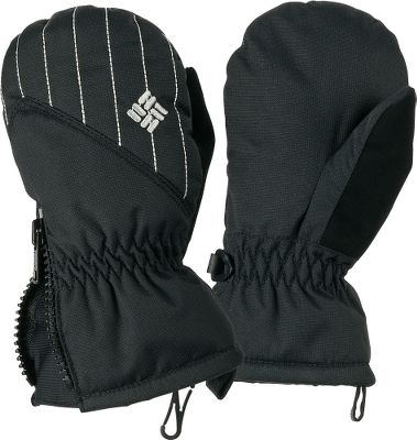 Columbias Toddlers Chippewa III Mittens have nylon-dobby shells with Omni-Shield that will keep little hands dry. Blanket-soft polyester-fleece linings and 100-gram polyester insulation keep them warm. Zip entry and pull tabs at cuffs. Nose wipes on thumbs and elastic in wrists. One size fits most. Imported. Colors:Black, Bright Plum. Size: One Size Fits Most. Color: Black. Age Group: Kids. Material: Polyester. Type: Mittens. - $9.88