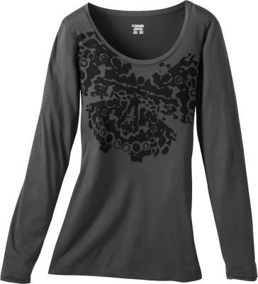 A stylized butterfly graphic accents this stylish long-sleeve tee. Made of soft, 100 cotton jersey that delivers a body-skimming fit and four-way-stretch comfort. Imported.Sizes: S-XL.Colors: Grill, Winter White, Tidewater, Elderberry. - $14.88