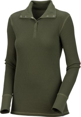 A soft and cozy top with a ribbed stand-up collar and ribbed cuffs that add a distinct look. Five-button front placket. Crafted of 98/2 cotton/elastane to give the top a form-fitting two-way-stretch fit. Machine washable. Imported. - $14.88