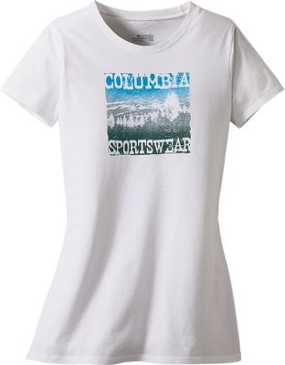 Enjoy the cooling embrace of soft, flex-fit 100% cotton in two-way comfort stretch. Nostalgic sign graphic on chest. Machine washable. Imported. Sizes: S-XL. Colors: Wind, White. - $4.88