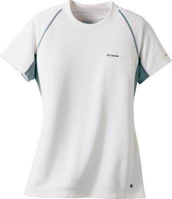 A skin-pleasing, form-fitting tee made of four-way comfort-stretch polyester with a UPF rating of 50. Contoured collar. Imported. Center back length: 25-. Sizes: S-XL. Colors: Chartreuse, Wind, White. Size: X-Large. Color: White. Gender: Female. Age Group: Adult. Material: Polyester. Type: Short-Sleeve Shirts. - $19.88