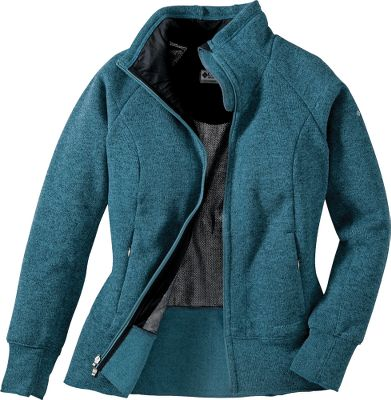 A full-zip, sweater-weight fleece lined with Omni-Heat Thermal Reflective Technology for high-performance warmth and comfort-enhancing breathability. Omni-Heat provides one of the highest heat retention ratios on the market, and it offers downlike softness and compressibility. It retains 20% more body warmth and promotes optimal comfort with its breathable, heat-reflecting dot lining. Princess seams offer a shape-flattering fit. Made of plush, 100% polyester with a water- and stain-resistant Omni-Shield finish. Raglan sleeves for improved freedom of movement. Zippered security pocket. Imported. Sizes: S-XL. Colors: Grill, Tidewater. - $44.99
