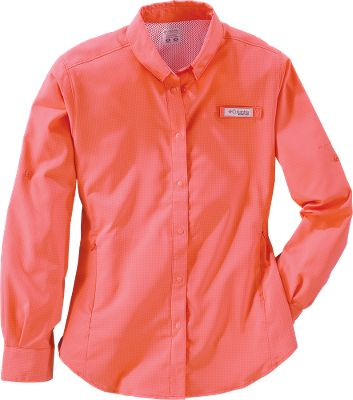 Columbias Womens PFG Tamiami II Long-Sleeve Shirt is equipped to hit the water with features like roll-up sleeves, back venting, a rod holder and Omni-Wick advanced evaporation. Omni-Shade UPF rating of 40 protects you from the suns harmful rays. 100% polyester-ripstop construction with odor-fighting treatment. Imported. Sizes: XS-XL, 1X-3X. Colors: White, Bright Rose, Fossil, White Cap, Purple Lotus, Clear Blue, Stormy Blue, Pale Purple, Bright Geranium, Circuit, Red Camellia. Size: XL. Color: Bright Rose. Gender: Female. Age Group: Adult. - $31.49