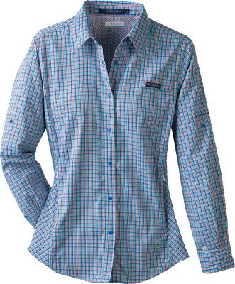 Fishing Available in tropical plaids, the Super Tamiami offers all the fishing and warm-weather features of the original in a more stylish shirt. Vented back increases cool airflow. Antimicrobial-treated 100% polyester with quick-drying Omni-Wick moisture management. Omni-Shade UPF rating of 40 for sun protection. Rod holder. Roll-up sleeve tabs. Imported. Sizes: S-XL. Colors: Vivid Blue/Three-Color Check, Bright Rose/Three-Color Check, Marmalade/Three-Color Check. - $29.88