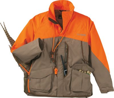 Hunting Proven on countless upland hunts, Columbias Performance Hunting Gear guarantees long-lasting durability along with pro-grade features. Youll appreciate its rugged durability, streamlined convenience and all-weather comfort. The bloodproof, front-loading game bag is adjustable for easy access and quick unloading. Outfitted with heavy-duty mesh panels on the sides that allow air in to cool game more quickly. Water-repellent Omni-Shield weather-blocking finish. Sleeves, shoulders and upper chest are constructed of high-strength 100% polyester canvas. Torso is crafted of tear-resistant 100% nylon chunky canvas. Free-moving relaxed fit. Zip open lay flat game bag with weight belt to take the load off. Two front cargo pockets. D-rings at chest. Full-zip front with storm flap. Adjustable cuffs. Interchange system compatible. Imported.Sizes: S-2XL.Color: Flax/Blaze. - $129.88