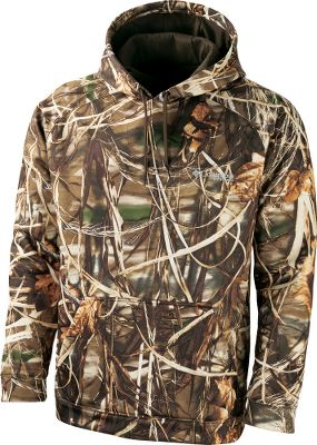 Hunting A light, water-resistant piece you can wear alone in mild weather or use as a layering piece when temperatures tumble. Its crafted of durable 100% polyester and sports an attached drawstring-equipped hood. A kangaroo-style pocket on the front is great for warming chilly fingers. Machine washable. Imported. Sizes: S-2XL.Camo pattern: Realtree MAX-4. - $59.88