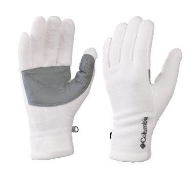Your hands stay toasty and comfortable in these Baddabing gloves, thanks to the reliable warmth of fleece. Faux-leather palms provide a little extra grip when you need it for activity. Elastic at the wrists keeps them snug to your skin and makes them easy to tuck into long sleeves while keeping the chill out. A security clip on each glove keeps them together to help prevent loss when not in use. 100% polyester fleece. Imported.Sizes: S-XL.Colors: Black Texture, Sea Salt, Light Grape Print. - $4.88