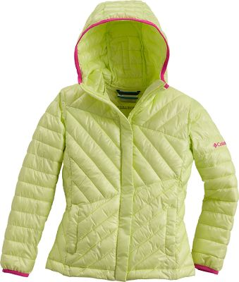 A clean-cut, lightweight, puffy jacket insulated with faux-down in diagonally-congruous quilted pockets is sure to keep your child warm. Omni-Shield advanced repellency finish resists light rain and stains, keeping her drier longer. The storm hoods round opening frames the face warmly, staying close to her head, and rolls up and out of the way when it's not needed. 100% polyester shell and insulation with 100% nylon lining. Imported.Center back length for 7/8: 19.Sizes: 4/5, 6/6X, 7/8, 10/12, 14/16.Colors: Clear Blue, Light Grape, Afterglow, Neon Light. - $49.88