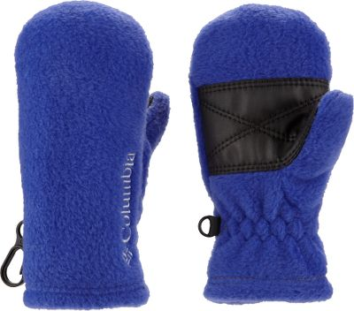 Guns and Military Your quick, go-to mittens for your baby 250-gram fleece keeps little fingers warm and cozy while elastic at the wrists helps keep the wind and cold out. Faux-leather palms give them some texture for a little grip. Security clips on the outside edge of each mitten secure them together and can also be clipped on to a zipper when not in use. 100% polyester. One size fits most. Imported.Colors: Black, Collegiate Navy, Light Grape, Afterglow. - $8.88