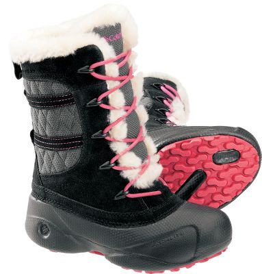 Maximum winter style and ready for a snow day. Water- and stainproof, the leather and textile uppers feature 200-gram foot-warming Omni-Heat insulation. Techlite molded shells are lightweight and flexible, and the removable EVA footbeds and sturdy nylon shanks offer all-day comfort and support. Nonmarking rubber outsoles with winter-specific tread patterns. Imported.Average weight: 1.8 Ibs./pair.Kids whole sizes: 1-4 medium width.Colors: Black, Mud. Size 3. Width Medium. Color Black. - $44.88