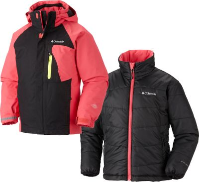 Two-in-one jacket will keep her warm and comfortable in a wide range of temperatures. Wear the insulated shell on warmer days and zip in the liner when it gets chilly. Outgrown system adjusts as she grows, meaning you dont have to buy a new jacket each season. Waterproof, breathable Omni-Tech jacket is seam sealed and has a drop tail to keep out snow and wind. Removable, water-repellent Omni-Shield inner jacket is constructed of ripstop polyester and lined with Omni-Heat thermal-reflective material. Removable, adjustable storm hood on shell. Shell has media/goggle pocket and liner has interior security pocket. Both shell and liner have two zippered handwarmer pockets. Zip-in Interchange System. Reflective detail for safety. Imported.Sizes: XXS-L.Color: Afterglow/Black. - $124.88