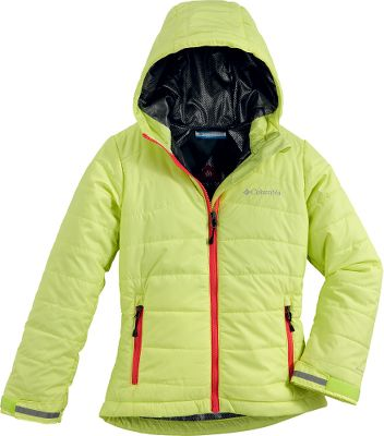 A reliably warm winter coat with a smooth, shiny finish that gives it a unique, fun look. Omni-Heat thermal reflective finish reflects body heat for better warmth retention while dissipating moisture. Omni-Shield advanced-repellency finish resists light rain and stains, keeping her drier longer. The fixed storm hood can be rolled up and buttoned out of sight when unneeded. Internal backpack straps make the coat easy for your child to carry when she doesnt need to wear it. Zip-close pockets. 100% polyester shell and lining with 50/50 polyester/recycled 100-gram polyester insulation. Imported.Center back length for size 7/8: 21. Sizes: 4/5, 6/6X, 7/8, 10/12, 14/16.Colors: Clear Blue, Light Grape, Neon Light. - $62.88