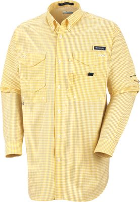 Columbias Mens PFG Super Bonehead Classic Long-Sleeve Shirt is comfortable and comes loaded with extras. 100% cotton with Omni-Shade UPF rating of 30 keeps you protected from the suns harmful rays. Ventilation-increasing cape-covered mesh back allows cooling airflow. Four large hook-and-loop-close pockets and a rod-holder loop at the left chest keep gear at the ready. Extended sun-protection collar flips up for additional coverage. Relaxed fit. Imported. Sizes: M-2XL. Colors:Sunset Red Plaid (not shown), Blue Heron Gingham. Size: X-Large. Color: Sunset Red Plaid. Gender: Male. Age Group: Adult. Pattern: Gingham. Material: Cotton. Type: Long-Sleeve Shirts. - $58.00