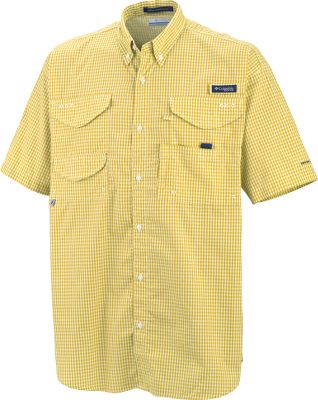 Columbias Mens PFG Super Bonehead Classic Short-Sleeve Shirt is comfortable and loaded with fisherman-friendly features. Boasts two large hook-and-loop-close pockets, a tippet-dispenser pocket and three compartments for other accessories. Made of 100% cotton with a cape-covered polyester mesh back for ventilation. Imported. Sizes: S-5XL. Patterns: Collegiate Navy Gingham, Gulf Stream Gingham, Jupiter Multi, Key West Stripe, Lemon Whip Gingham, Ocean, Sorbet Check, White Cap, White Cap Gingham, Sail Gingham. Size: 2 X-Large. Color: Gulf Stream Gingham. Gender: Male. Age Group: Adult. Pattern: Gingham. Material: Polyester. Type: Short-Sleeve Shirts. - $50.00