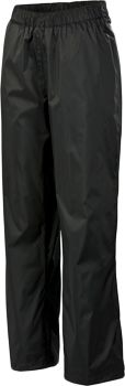 These lightweight rain pants feature Omni-Tech technology, creating a waterproof and breathable soft fabric. Fully seam sealed to maintain the waterproof integrity, the pants have elastic at the waist as well as a drawcord to adjust the fit. Cuff tab adjustable leg openings accommodate your choice of footwear. 9.6 oz., mesh lined. 100% nylon shell, 50/50 polyester/polyester mesh and 100% nylon taffeta lining. Imported. Inseam: 32. Sizes: S-3XL. Color: Black. Size: Small. Color: Black. Gender: Female. Age Group: Adult. Material: Polyester. Type: Rain Pants. - $50.00