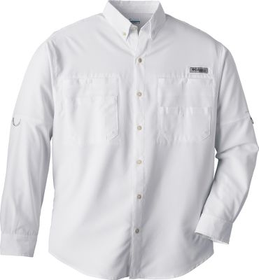 Fishing On the beach or on the boardwalk, Columbias Mens PFG Tamiami II Long-Sleeve Shirt is ready to spring into action while looking great the whole time. Constructed of Omni-Wick lightweight, moisture-wicking, mechanical-stretch polyester fabric. Cut for a full, relaxed fit, youll enjoy complete freedom of movement. Odor-fighting fabric keeps you feeling fresh. Features include a vented back, rod holder, concealed pocket and Omni-Shade UPF rating of 40 for protection from the sun. Swiss tabs keep sleeves rolled up. Front chest pockets. Button-down collar. Imported. Sizes: S-4XL Colors: Gulfstream, Tippet, White, Sage, Sail, Fossil, Key West, Vivid Blue, Bright Peach, Mirage, Zing, Sunlit, Black, Collegiate Navy, Marine Blue, Napa Green, Pond (not shown). Size: X-Large. Color: Sail. Gender: Male. Age Group: Adult. Material: Polyester. Type: Long-Sleeve Shirts. - $48.00