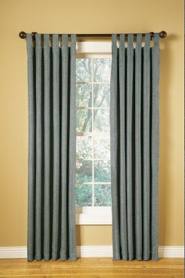 "With a coarse, simplistic appearance and chapped texture, these drapes have a look that lends themselves to a variety of d cors. The insulated blackout curtain maintains privacy, blocks out light and at the same time keeps your home warmer in winter and cooler in the summer. The panels are extremely versatile and can be hung in four very functional fashions back tab, clip rings, pocket top or tab top. The face fabric is 100% polyester. The lining is an 80/20 polyester/cotton blend. The lining back is 100% acrylic suede. Sold per panel. Imported.Dimensions: 55""W x 84""L.Colors: Beige, Brown, Blue. - $24.88"