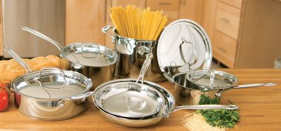 This 10-piece cookware set gives you both a classic look and professional performance in one affordable set. The aluminum-encapsulated base heats quickly and spreads heat evenly which eliminates hot spots and uneven cooking. The stainless steel cooking surface does not discolor, react with food or alter flavors. It's also great for classic reduction of liquids. Solid stainless steel, riveted cool-grip-handle stays cool on the stove top. The helper handle provides extra support and balance when lifting and pouring. Rims are tapered for drip-free pouring, especially convenient when draining water or making sauces. Tight fitting cover on the Flavor Lock Lids seal in moisture and nutrients for healthier, more flavorful results, every time you cook. Made with easy-to-clean 18-10 stainless steel. Dishwasher safe. Limited lifetime warranty. Imported. Includes: 1-1/2 qt. and 3 qt. saucepans with covers 3-1/2 qt. saute pan with cool-grip handle and cover 8 and 10 open skillets 8 qt. stockpot with cover Color: Stainless Steel. - $104.88
