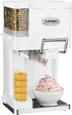 Now you can enjoy soft serve ice cream, yogurt and sherbet right at home. This unit is fully automatic. Just add the ingredients, turn the dial and enjoy 1.5 quarts of delicious frozen refreshment in as little as 20 minutes. Freezer bowls are double-insulated for consistent temperature maintenance. Add your favorite mix into ice cream as its dispensed. The process requires no salt, ice or chemicals. Removable parts make cleanup a snap. A recipe book and instruction book are included. 3-year limited manufacturers warranty. Dimensions: 9.75H x 9W x 18.2D. - $99.99