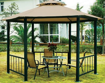 "Camp and Hike When the summer sun is beating down, retire to the cooling shade of a Coolaroo Victoria Gazebo. Its special knitted fabric is breathable, yet still blocks 90% of UV rays keeping temperatures inside the Gazebo up to 32% cooler than those outside. The material won t fade, crack or rot, is easy to clean and resists mold and mildew. Sturdy support is supplied by a powder-coated Alumi-Steel frame that consists of 4"" column legs, rigid steel rafters and three decorative railings. All are color coordinated and corrosion-resistant. Full-length side panels with mosquito netting allow cool breezes to filter through for a true cabana-like effect. Durable mesh curtains keep bugs and pests out.Size: 11 ft. x 13 ft.Peak height: 8 6"".Color: Smoke fabric/Black frame. - $699.99"
