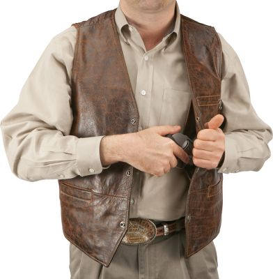 "This Cabelas-exclusive vest has two concealed holster pockets to fit most handguns. Removable retention straps secure your firearms. Pockets abound including pig-suede-lined front pockets; an upper lined and zippered external chest pocket; two internal breast pockets and a lower internal zippered pocket. Genuine bison-leather front panel and back yoke trim. Accented with 100% cotton bull denim in back. Buffalo-nickel snaps. Color of leather may vary. Imported. Tall even sizes: 44""-56"". - $149.88"