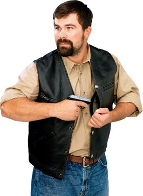 Full-grain, waxed-cowhide, matte-black leather with a bull denim back. Antiqued nickel American bald eagle snaps. All have two concealed holster pockets to fit most handguns. Removable holster retention strap. Lined front pockets, upper external chest pocket, two internal breast pockets and a low internal zippered pocket. Imported. Even sizes: 42-56. Color: Denim. Material: Leather. - $109.88