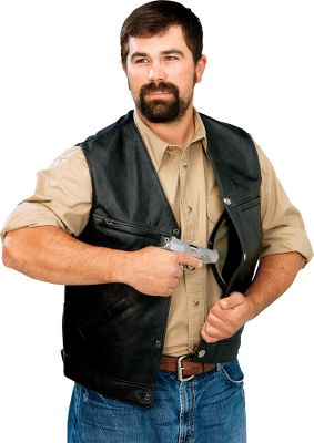 Full-grain, waxed-cowhide, matte-black leather with a bull denim back. Antiqued-nickel American bald eagle snaps. They have two concealed holster pockets to fit most handguns. Removable holster retention strap. Lined front pockets, upper external chest pocket, two internal breast pockets and a low internal zippered pocket. Imported.Even sizes: 44-56. - $129.88