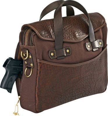 Coronados American Bison Leather Briefcase is rugged, practical and styled to suit your outdoor lifestyle. Key-locking, concealed-carry side pocket is ready for any situation. Removable shoulder strap and pad for various carrying options. Multiple organization pockets inside and out. Solid brass-hardware compliments the oil-tanned leather. Padded tablet sleeve pocket protects valuables. Stress points are tack-rivet-reinforced for extended life. Made in USA. 16L x 3W x 12H. Wt: 3.5 lbs. Gender: Female. Age Group: Adult. Type: Briefcases. - $299.99