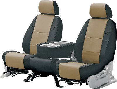 These tailored, two-tone seat covers are designed specifically to match the exact dimensions of the seats in thousands of different foreign and domestic cars and trucks. Secured with seatbelt-style hooks, a set can be installed in less than 30 minutes. The leatherette material is waterproof and rugged enough to stand up to years of everyday use. Backed by a one-year warranty against wear and seam separation. Colors: Red/Black, Charcoal/Black, Light Grey/Black, Beige/Black, Cashmere/Black, Taupe/Black, Medium Gray/Black (not shown). Color: Red/Black. - $249.99