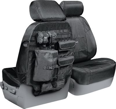 Combines the durability of a ballistic-grade seat-cover base with a fully interchangeable cargo system. These military-style seats feature a MOLLE platform system on the back with six generous cargo compartments that you can remove or arrange as you see fit. Protective covers are made of a patented Cordura ballistic fiber, a poly/cotton blend, thats three times stronger than similar Cordura material. Covers are custom-designed for an exact fit. One-year warranty. Made in USA. Available: Black, Charcoal, Cashmere. Type: Custom-Fit Seat Covers. Black. - $229.99