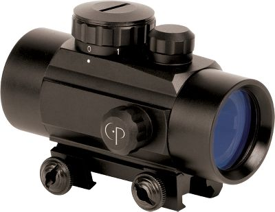 Hunting Great for quick target acquisition, this scope fits onto any Weaver-style rail system thanks to an integrated mounting clamp. Has a 40mm diameter with a 30mm lens and 1x magnification, five brightness settings and unlimited eye relief. It also has a 5-MOA red dot with red or green illumination options and a large field of view. Flip caps and mounting tools included. Runs on one CR2032 battery (included). Manufacturers limited lifetime warranty. Length: 3.9. Wt: 7.4 oz. Color: Green. - $79.99
