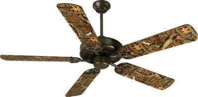 "Transform the look of your indoor or outdoor space with one of these decorative ceiling fans. The fan has a sealed motor, rust-resistant galvanized housing and is UL-listed for wet locationsmaking it ideal for locations that have a high moisture content. The nonreversible, heavy-duty, 153x8mm three-speed motor runs at 55 rpm on low, 125 rpm on medium and 200 rpm at high speed. Includes 2"" and 6"" down rods. Five 52""-long blades. Rustic iron base. 5,434-cu.-ft.-min. airflow. Imported.Overall blade span: 52"". Fixture dimensions: 16.14""H x 11.22""W. Weight: 13.2 lbs.Camo pattern: Mossy Oak Break-Up - $225.99"