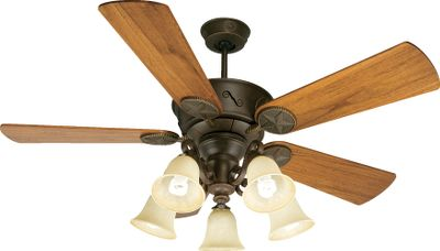 A beautiful and functional addition to any home, lodge or cabin, this ceiling fans five 21 blades that span 54 are hand-scraped and accented with Western-style bronze stars. Walnut comes with a three-light kit with elegant tea-stained glass coverings and the Teak comes with a five-light kit. Heavy-duty, three-speed reversible motor offers reliable performance. Includes 2 and 6 down rods. Suitable for damp locations. Manufacturers limited lifetime warranty. Available: Walnut. Color: Bronze. - $419.99